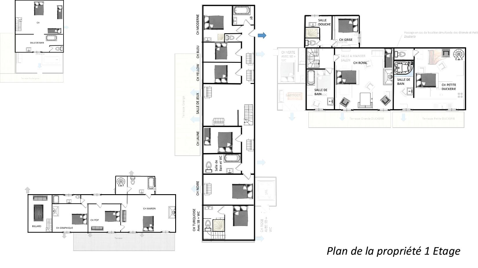 Plan la Duckerie 1er etage - GITE LA DUCKERIE - Location de Gite La Clef Decamp - Laclefdecamp.fr