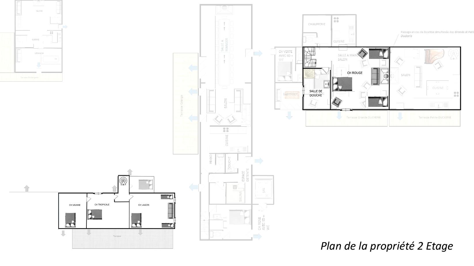 Plan la Duckerie 2eme etage - GITE LA DUCKERIE - Location de Gite La Clef Decamp - Laclefdecamp.fr