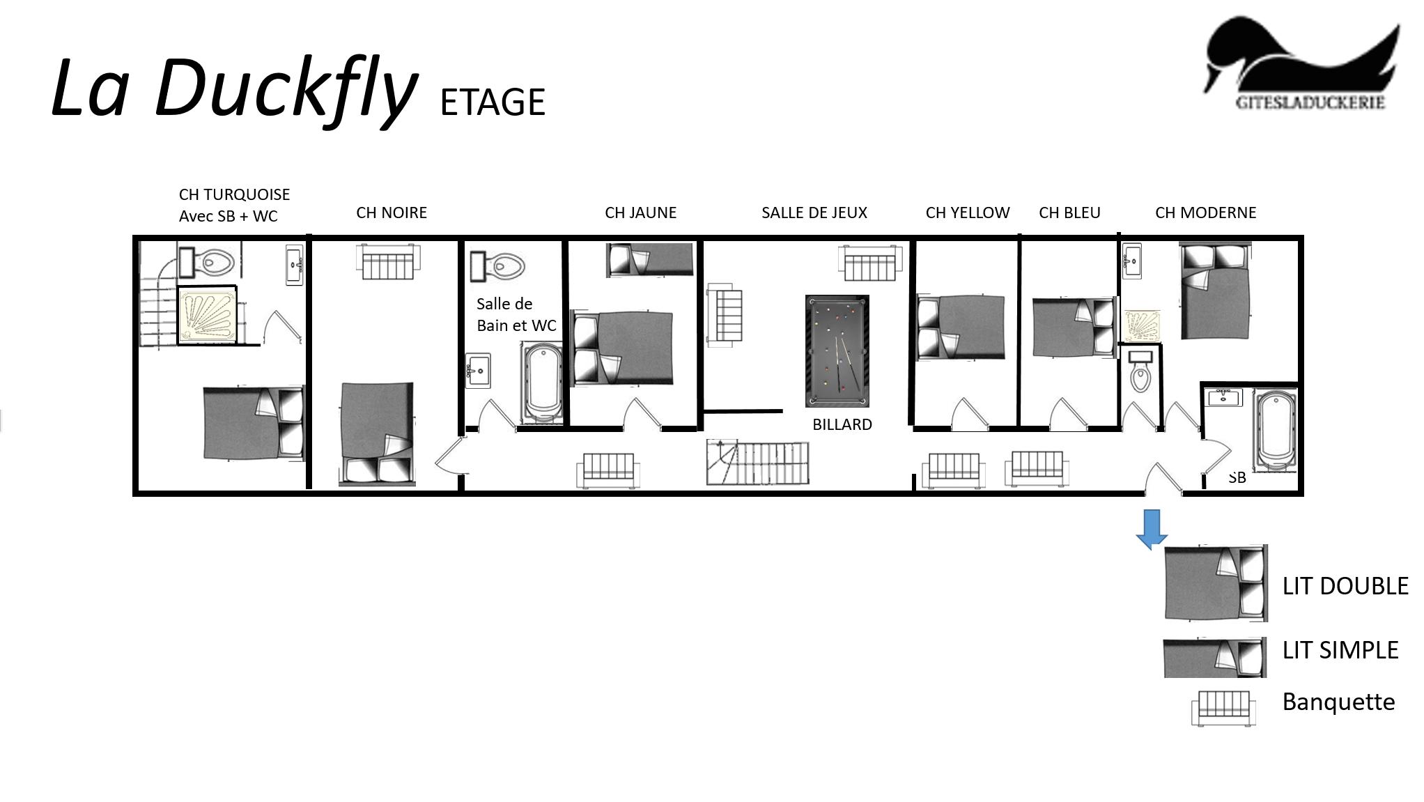 Duckfly plans 1er - LA DUCKFLY - Location de Gite La Clef Decamp - Laclefdecamp.fr