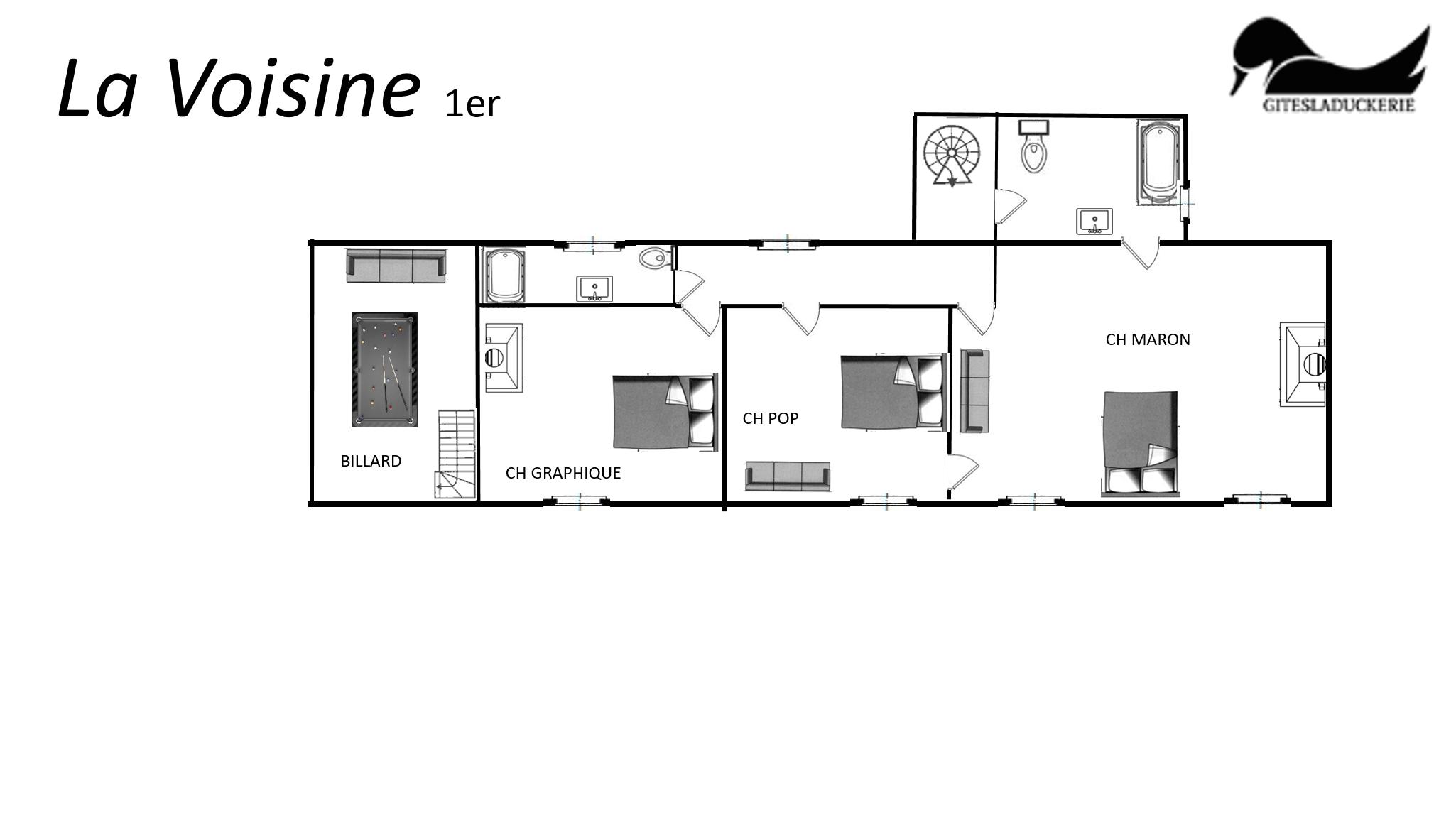 La Voisine plans 1er - LA VOISINE - Location de Gite La Clef Decamp - Laclefdecamp.fr