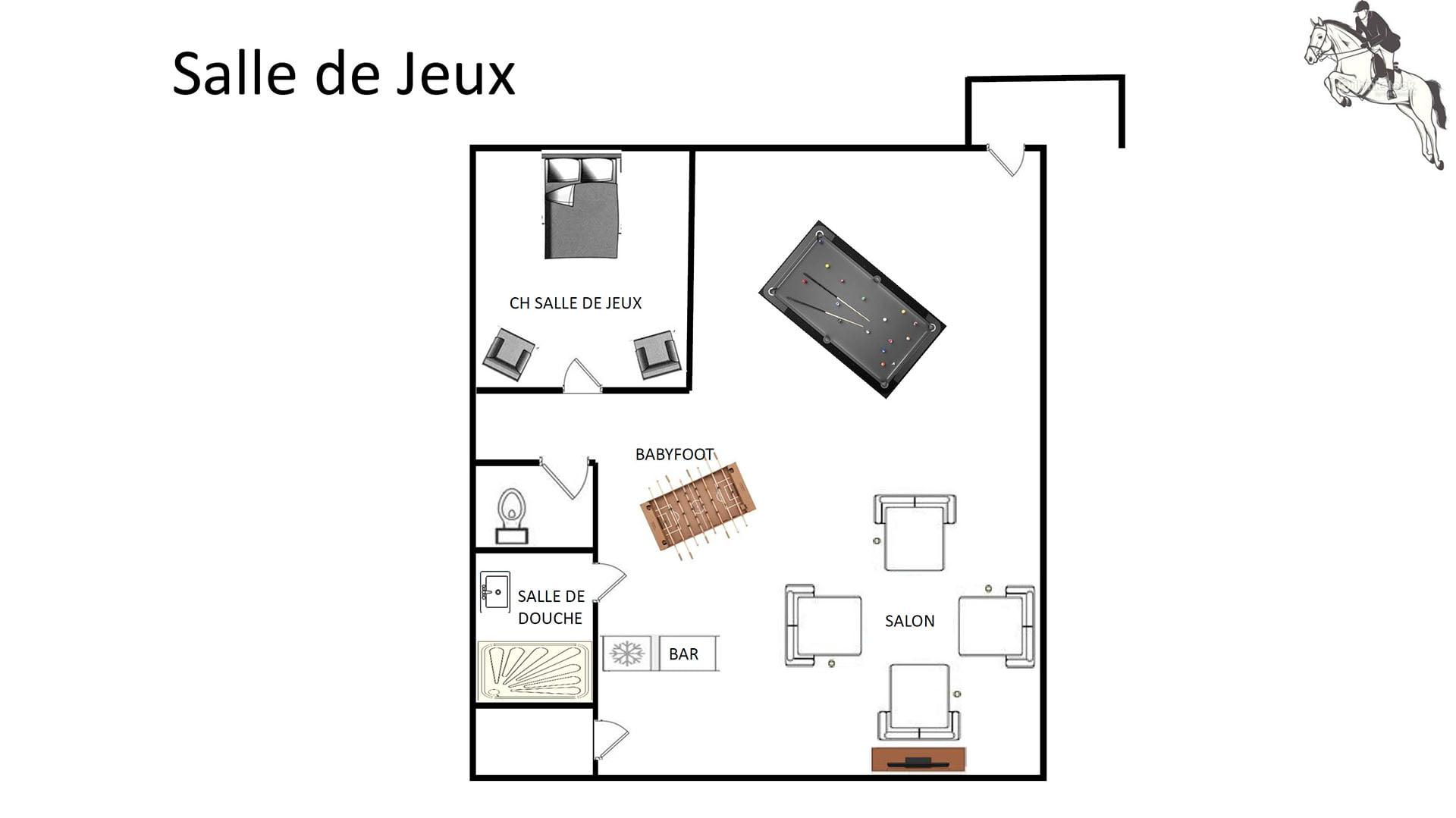Plan salle de jeux les ecuries val de mai - GITE LES ECURIES VAL DE MAI - Location de Gite La Clef Decamp - Laclefdecamp.fr