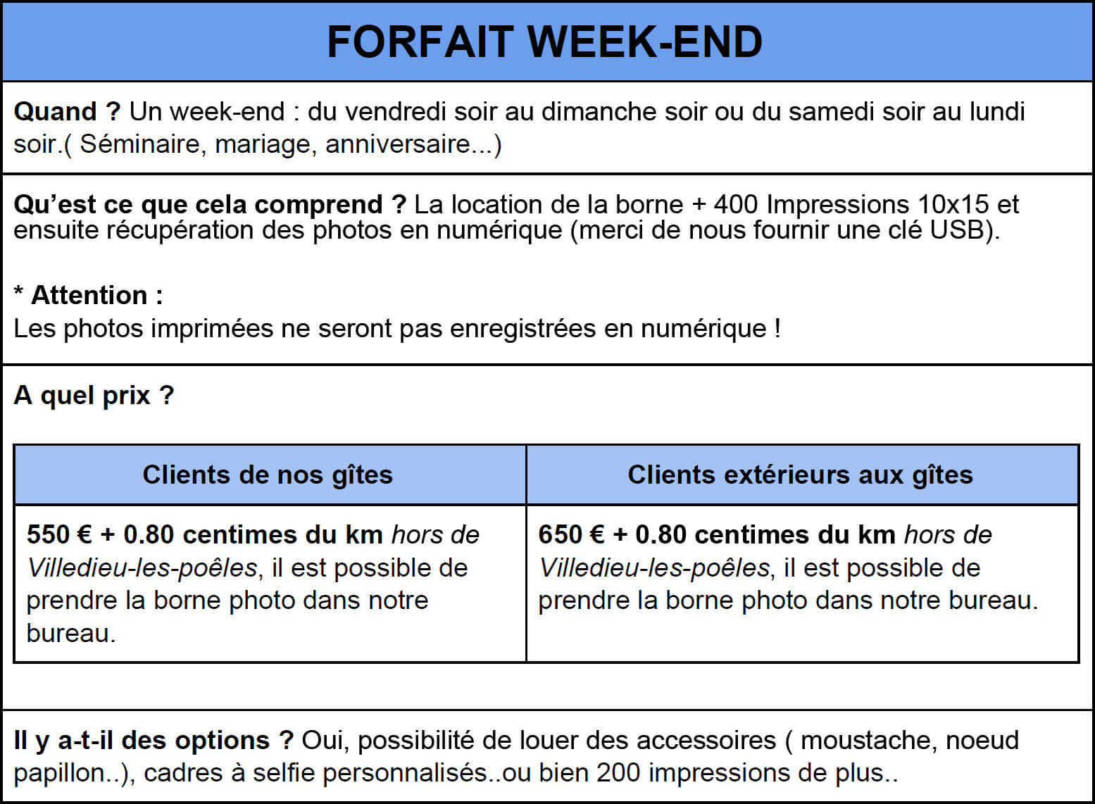 Forfait week end Photobooth2 - Borne Photo Selfie - Location de Gite La Clef Decamp - Laclefdecamp.fr