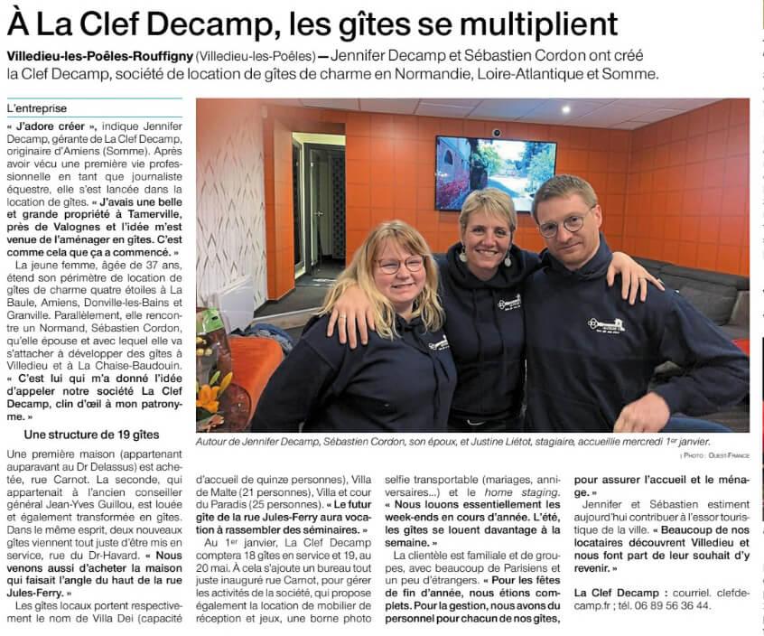 ouest france la clef decamp ouverture 1 - OUEST-FRANCE : Villedieu-les-Poêles-Rouffigny. À La Clef Decamp, les gîtes se multiplient - Location de Gite La Clef Decamp - Laclefdecamp.fr