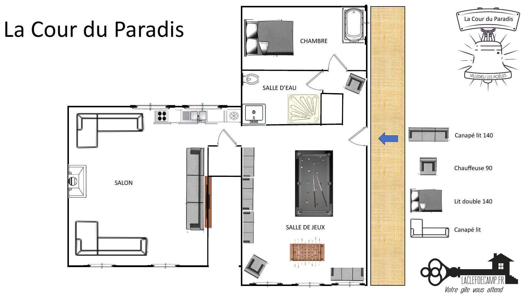 Cour du paradis - La Villa du Paradis - Location de Gite La Clef Decamp - Laclefdecamp.fr