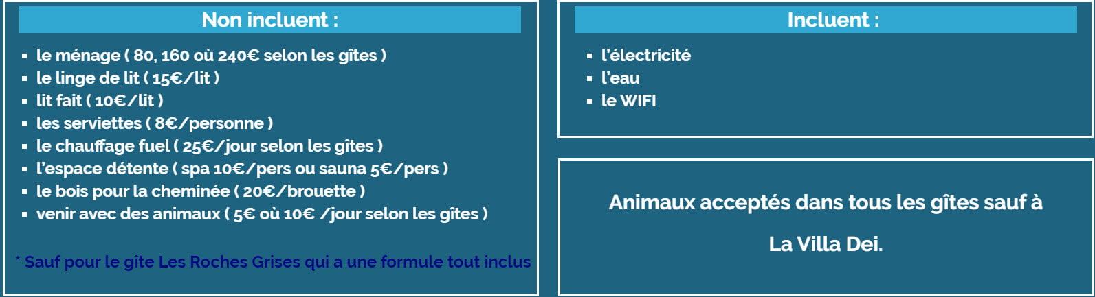 Options - Tarifs - Location de Gite La Clef Decamp - Laclefdecamp.fr