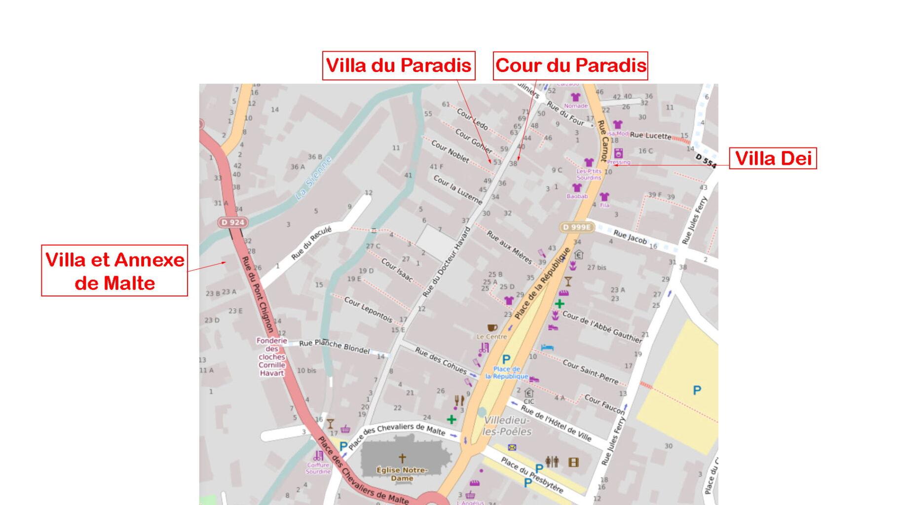 Plan Gites Villedieu - La Villa du Paradis - Location de Gite La Clef Decamp - Laclefdecamp.fr