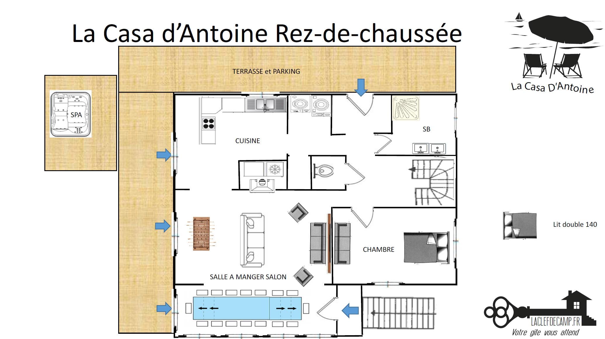 La casa dantoine RDC - La Casa d'Antoine - Location de Gite La Clef Decamp - Laclefdecamp.fr